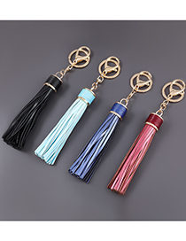 Fashion White Alloy Lobster Clasp Artificial Leather Tassel Keychain Pendant