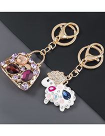 Fashion Motorcycle Alloy Drip Oil Diamond-studded Horse And Sheep Motorcycle Keychain Pendant
