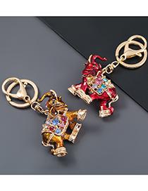 Fashion Yellow Alloy Oil Dripping Diamond Elephant Keychain Pendant