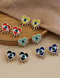 Fashion Blue Alloy Diamond Pearl Love Eye Stud Earrings