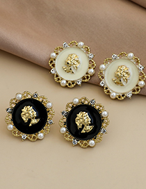 Fashion White Alloy Dripping Geometric Round Portrait Earrings