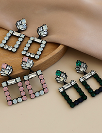 Fashion Pink Alloy Diamond Hollow Square Earrings
