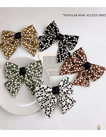Fashion Brown Bowknot Floral Printed Fabric Hairpin