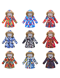 Fashion Navy Blue Large Fur Collar Hooded Printed Mid-length Childrens Jacket