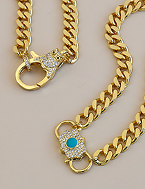 Fashion Golden Copper Inlaid Zircon Owl Thick Chain Necklace