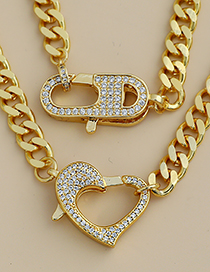 Fashion Golden Copper Inlaid Zircon Geometric Thick Chain Necklace