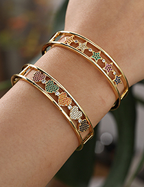Fashion Golden Copper Inlaid Zircon Five-pointed Star Bracelet