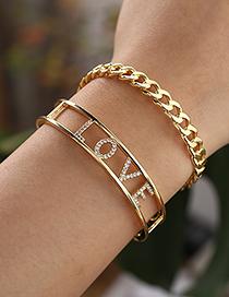 Fashion Golden Copper Inlaid Zircon Letter Love Bracelet