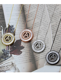 Fashion Rose Gold Plated A Rose Gold Plated Letter Round Inlaid Zirconium Copper Pendant Necklace