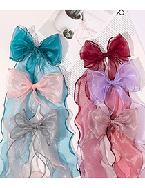 Fashion Red Bean Paste Breathable Organza Hairpin With Bow And Ribbon