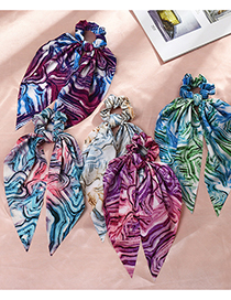 Fashion Purple Blue Silk Scarf Ribbon Tie-dye Large Intestine Circle Hair Rope