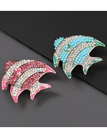 Fashion Blue Alloy Oil Drop Diamond Tropical Fish Brooch