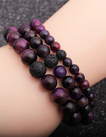 Fashion 6mm Tigers Eye Stone + A Volcanic Stone Tigers Eye Volcanic Stone Beaded Elastic Bracelet