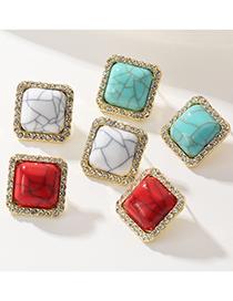 Fashion White Geometric Square Diamond Resin Earrings