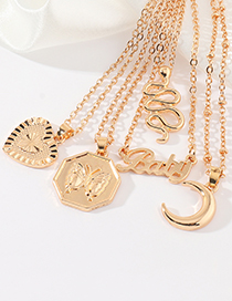 Fashion Moon Moon Love Letter Serpentine Geometric Alloy Necklace