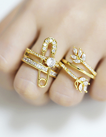 Fashion Pin Adjustable Ring With Diamond Brooch And Gold Plated Opening