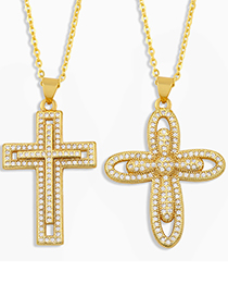 Fashion Cross A Gold-plated Copper Necklace With Diamond Cross