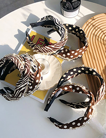 Fashion Striped Two-color Fight Zebra Pattern Polka Dot Cross Wide-brimmed Pearl Headband
