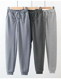 Fashion Dark Gray Straight Trousers With Eyelets And Drawstring Straps