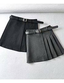 Fashion Gray Pleated Loose Skirt With Belt