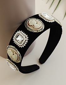 Fashion Black Fabric Alloy Diamond-studded Pearl Portrait Headband