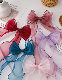 Fashion Dark Powder Childrens Braided Hairpin With Bow And Ribbon
