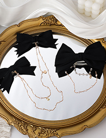 Fashion Two Models Chain Tassel Pearl Bow Hairpin