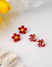 Fashion Text Flower Text Contrast Alloy Earrings