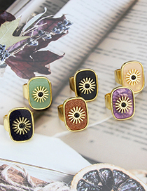 Fashion Open Ring Powder Crystal Flat Stone Square Sun Copper Gold Plated Ring