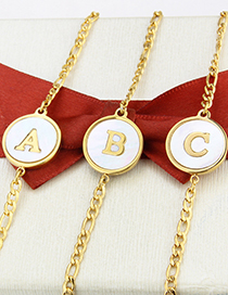 Fashion Gold-plated White Shell Z Shell Round Letters Gold-plated Titanium Steel Bracelet