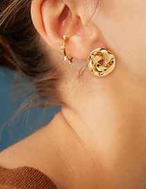 Fashion Golden Alloy Circle Twisted Hollow Stud Earrings