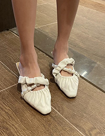 Fashion White Folded Beaded Baotou Cross Half Slippers