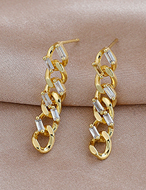 Fashion Golden Copper Inlaid Zircon Chain Earrings