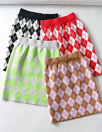 Fashion Khaki Geometric Patchwork Printed Knitted Slim Skirt