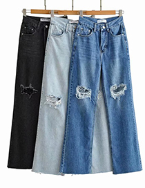 Fashion Light Blue Washed Loose Knee Jeans With Ripped Raw Edges