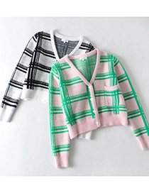 Fashion Black Fight Mohair Check Color Contrast Thick Loose Knit Cardigan