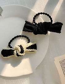 Fashion Black Bow Knot Rice Beads Beaded Hair Rope