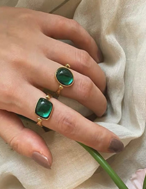 Fashion Round Geometric Alloy Ring With Gems