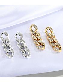 Fashion Silver Geometric Stud Earrings With Diamond Thick Chain