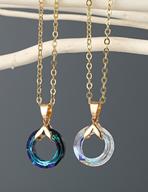 Fashion Black Color Round Crystal-like Resin Alloy Necklace