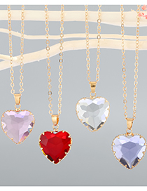 Fashion Pink Love Imitation Crystal Alloy Pendant Necklace