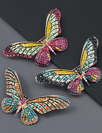 Fashion Rose Red Green Alloy Studded Butterfly Brooch