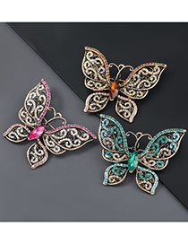 Fashion Brown Alloy Embossed Butterfly Brooch