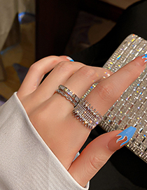 Fashion Silver Hollow Diamond Wide Open Ring