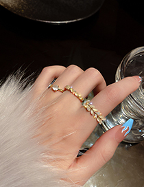 Fashion Round Real Gold Plating Opal Open Ring