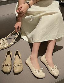 Fashion Khaki Square Toe Flat Shallow Bow Pleated Soft Leather Shoes