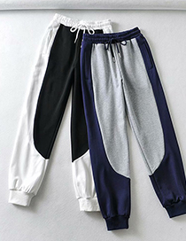 Fashion Black And White Elastic Waist Color Block Sports Trousers