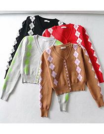 Fashion Khaki Geometric Print Stitching V-neck Single-breasted Sweater
