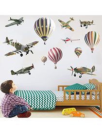 Fashion 30*90cmx2 Pieces In A Bag Packaging Hand-painted Airplane Hot Air Balloon Wall Sticker Removable