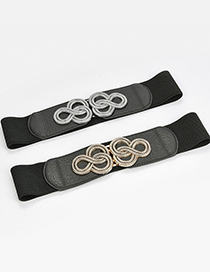 Fashion Black-gun Buckle Elastic Elastic Geometric Alloy Wide Belt
